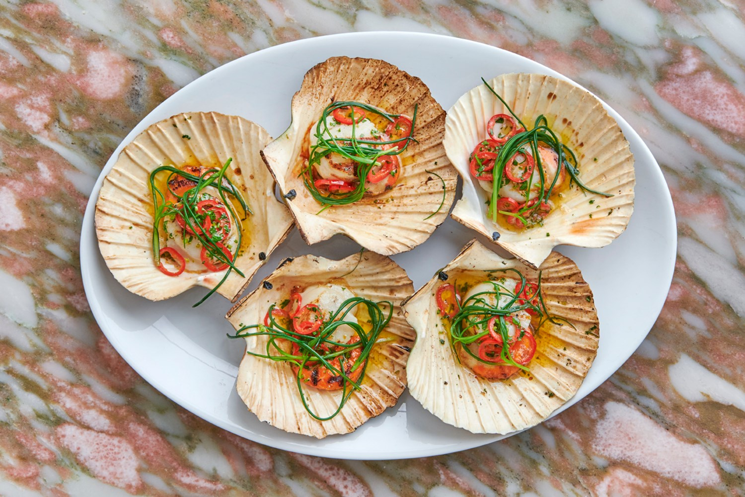 Italian Food in Kensington at Daphne's, Scallops with Chilli & Garlic