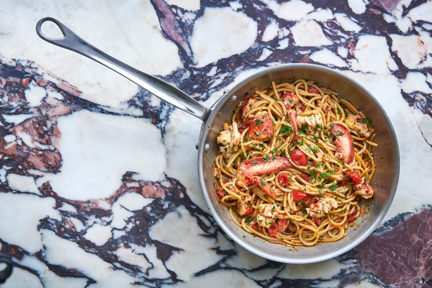 Spaghetti with lobster served at Italian restaurant Daphne's for lunch and dinner in Kensington